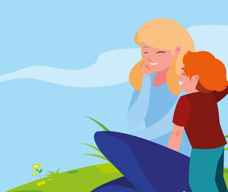 beautiful mother with son in the landscape vector illustration design Standard-Bild - 129976126