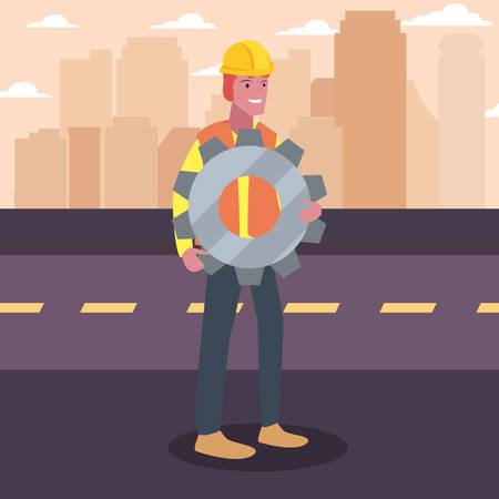 construction worker gear vector illustration design image