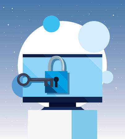 computer padlock key security cybersecurity data protection vector illustration Çizim