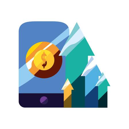 mobile money arrows increse app vector illustration