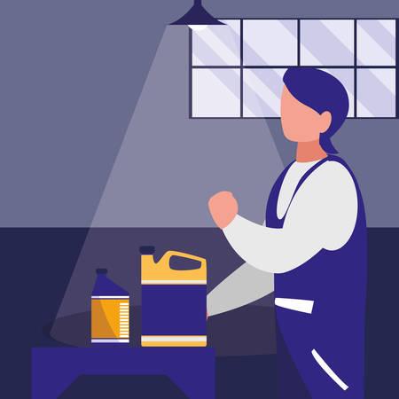 mechanic worker with oil gallon vector illustration design