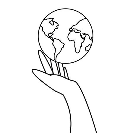 hand holding world happy earth day vector illustration
