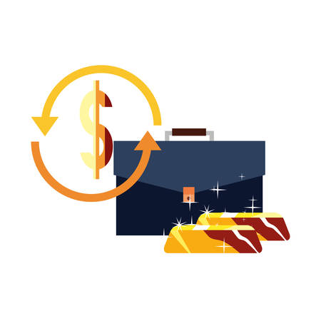 suitcase gold bar dollar exchange business vector illustration