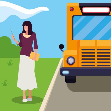 female teacher in bus stop vector illustration design Ilustração