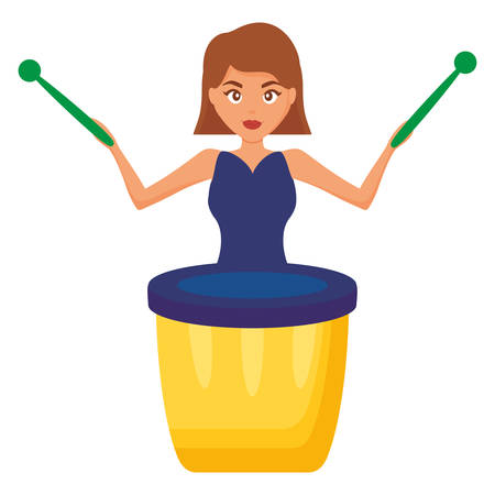 woman playing carnival bongo instrument vector illustration design Çizim