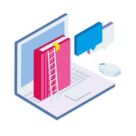 text book with laptop and stair vector illustration design