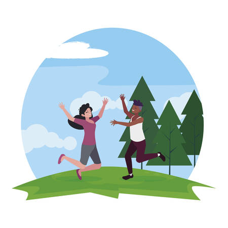 interracial young couple celebrating in the camp vector illustration design