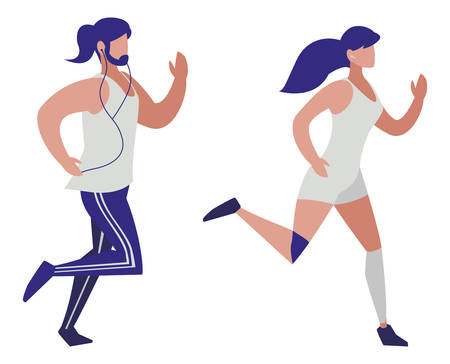 athletics couple running characters vector illustration design
