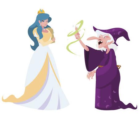 Bella princesa con bruja de cuentos personajes, diseño de ilustraciones vectoriales