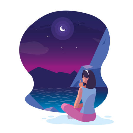 woman seated observing nightscape with lake vector illustration design Illustration