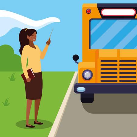 black female teacher in the bus stop vector illustration design Ilustração