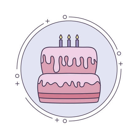 cake of birthday in frame circular vector illustration design Ilustração