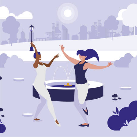 young interracial girls dancing in the park vector illustration design 일러스트