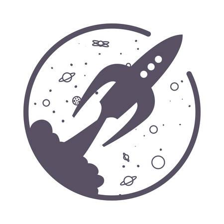 rocket spaceship launch planets cartoon vector illustration