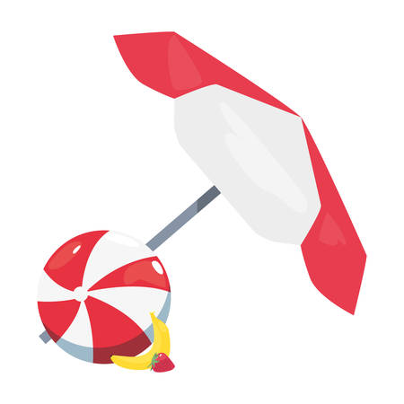 summer time holiday umbrella beachball banana and strawberry vector illustration