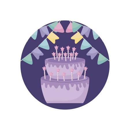 sweet cake with candles in frame circular vector illustration design Ilustração