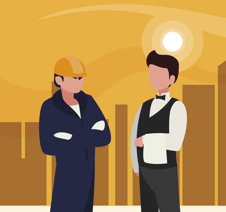 couple of professional workers in cityscape at sunset vector illustration design Иллюстрация