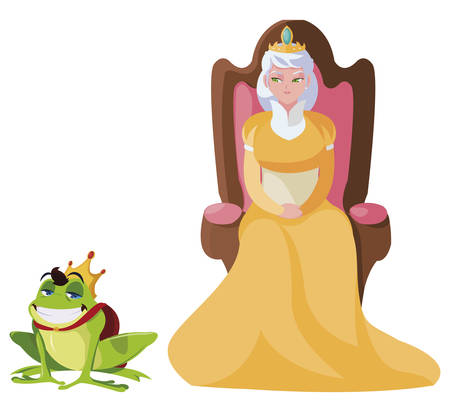 queen on throne with toad prince characters vector illustration design Ilustração
