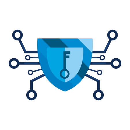 shield key connection cybersecurity data protection vector illustration Çizim