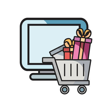 online shopping cart computer gifts on white background vector illustration  イラスト・ベクター素材