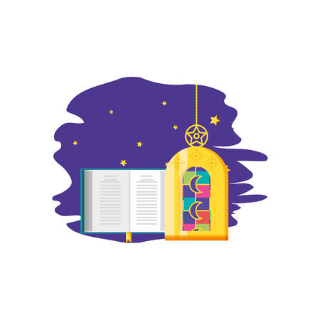 Ramadan Kareem lamp with koran book vector illustration design