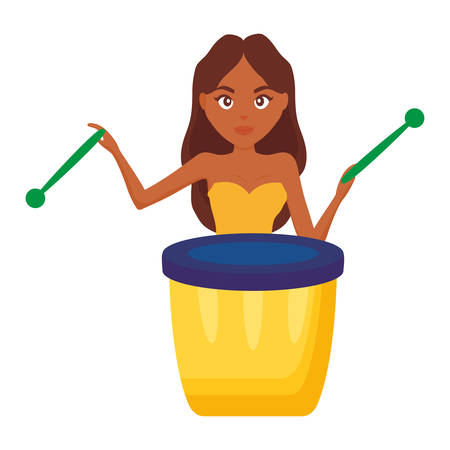 woman playing carnival bongo instrument vector illustration design  イラスト・ベクター素材