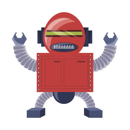 cartoon robot icon over white background colorful design vector illustration Ilustracja
