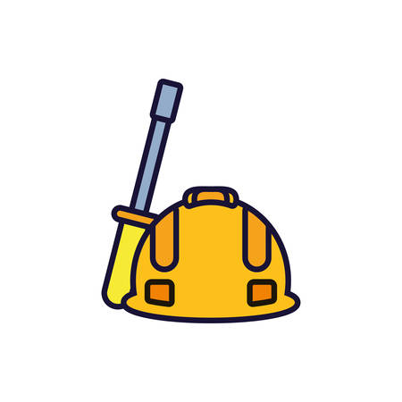 helmet protection with screwdriver tool vector illustration design Ilustracja