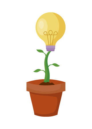 pot plant with light bulb vector illustration design