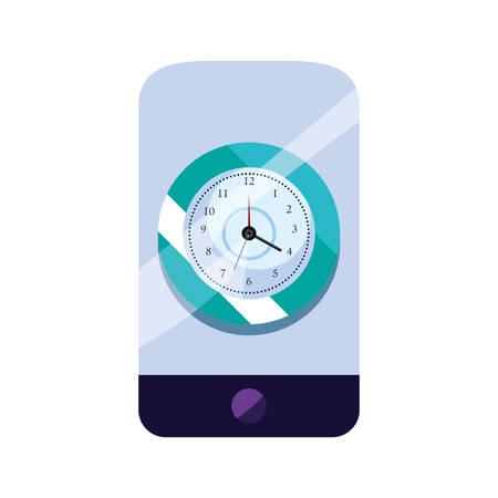cellphone clock time vector illustration design