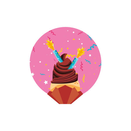 sweet cupcake of birthday with candles vector illustration design