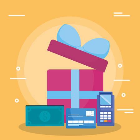 gift box with money and voucher machine vector illustration design Ilustracja