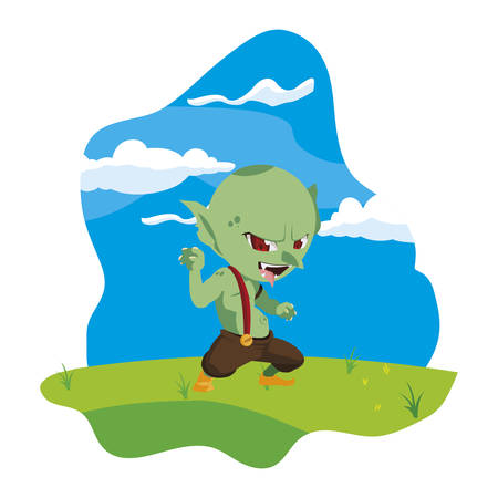 ugly troll in the camp magic character vector illustration design Vectores