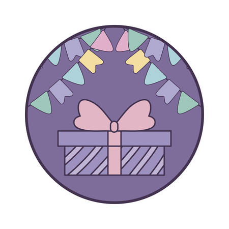 gift box present in frame circular with garlands hanging vector illustration design