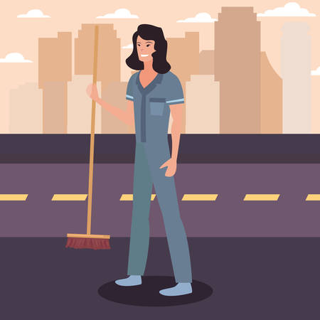 street sweeper woman with broom city labour day vector illustration design