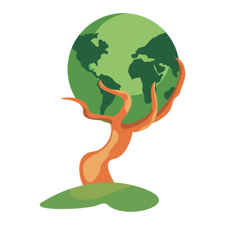 strong tree trunk with happy world earth day vector illustration