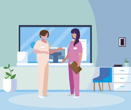 couple medicine workers in hospital reception vector illustration design Ilustracja