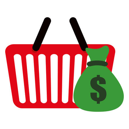 shopping basket with money bag vector illustration design Stock Vector - 130085526