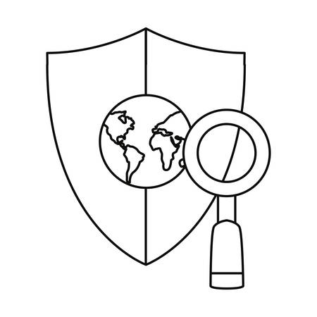 world shield protection magnifying glass image vector illustration