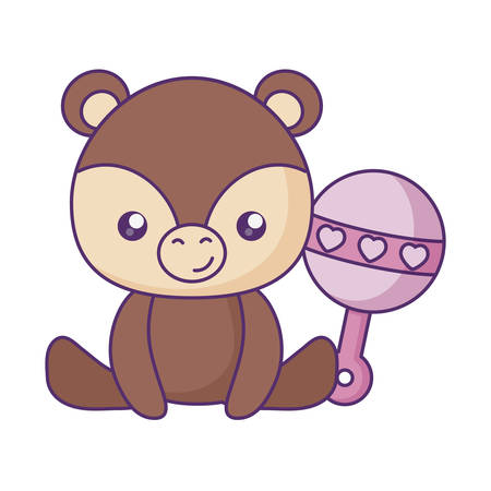 cute little bear baby with jingle bell vector illustration design