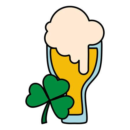 beer glass with clover leaf vector illustration design