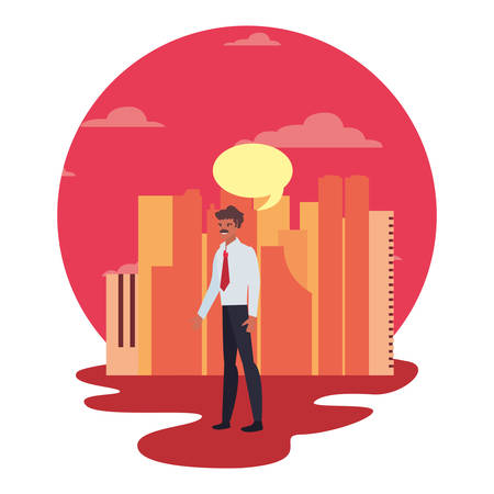 businessman standing city street background speech bubble vector illustration