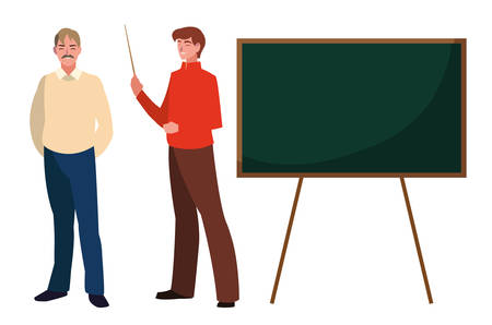 teachers couple with chalkboard characters vector illustration design  イラスト・ベクター素材