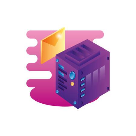 server data center with envelope mail vector illustration design 向量圖像