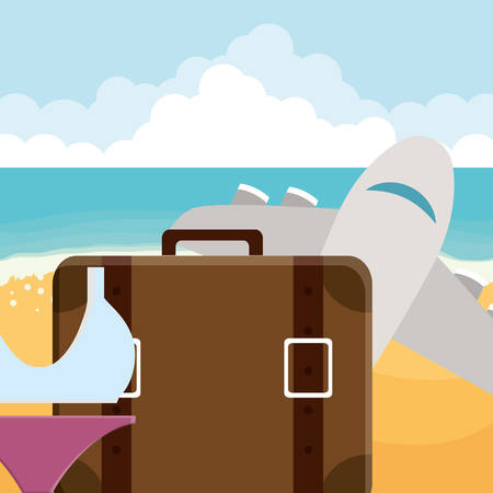 suitcase travel vacations with swimsuit and airplane vector illustration design