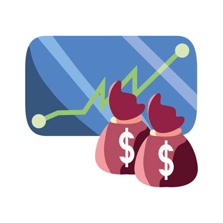 mobile money bags dollar currency vector illustration