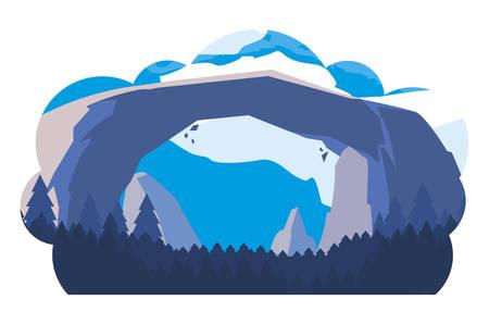 rocks with forest snowscape scene vector illustration design