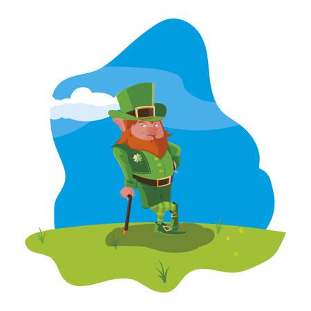 saint patrick lemprechaun with cane in the field vector illustration design