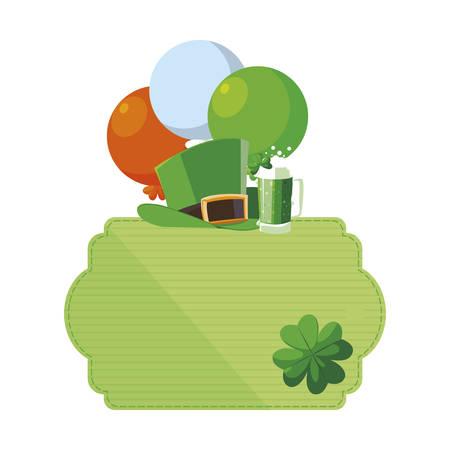 lemprechaun tophat with beer and balloons helium vector illustration design 写真素材 - 130029871