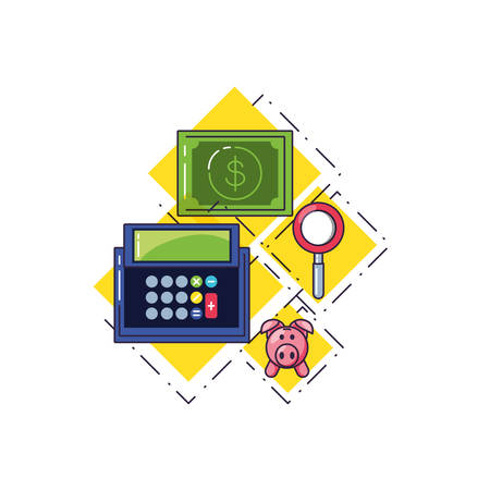 calculator math with set icons vector illustration design